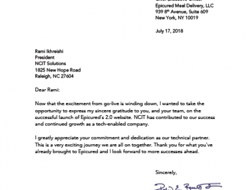 Epicured – Letter to NCIT from Epicured